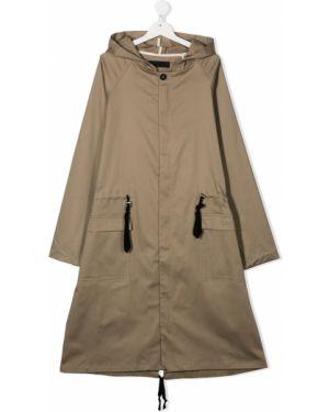 С рукавами коричневое пальто классическое с капюшоном Anja Schwerbrock
