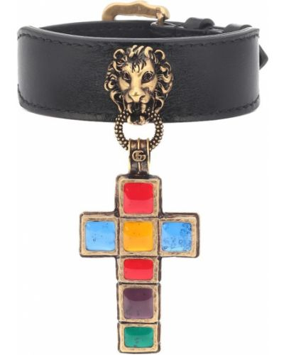 Szeroki bransoletka ze skałami złoto Gucci