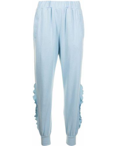 Хлопковые зауженные синие спортивные брюки Undercover