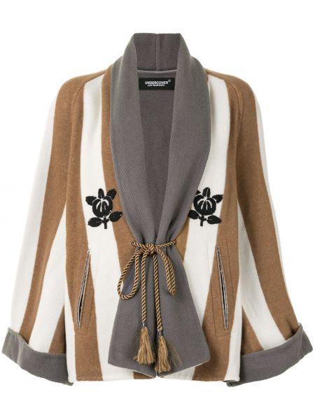 Коричневое кашемировое пальто с вышивкой Undercover