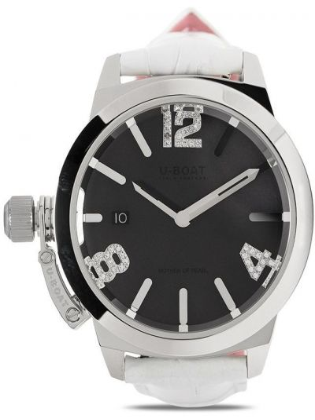 Czarny zegarek na skórzanym pasku skórzany klamry U-boat