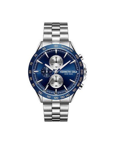 Со стрелками серебряные часы механические круглые Kenneth Cole