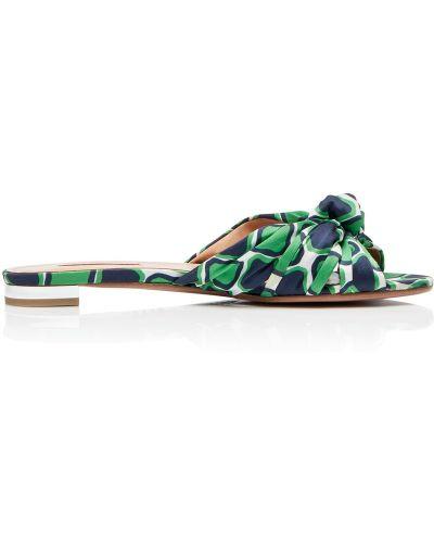 Мюли на каблуке зеленый Aquazzura