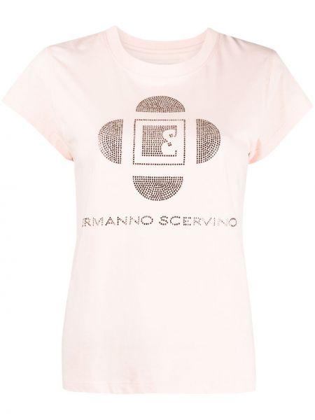 Хлопковая розовая футболка с вырезом Ermanno Scervino