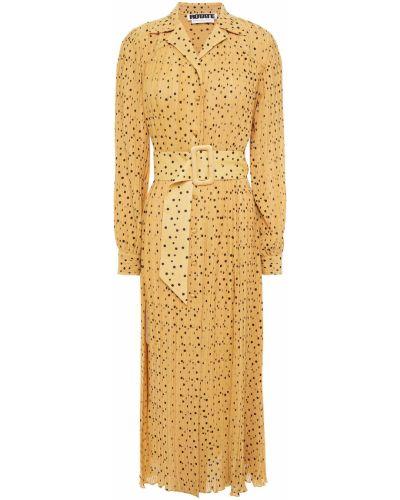 Sukienka midi z paskiem z szyfonu zapinane na guziki Rotate Birger Christensen