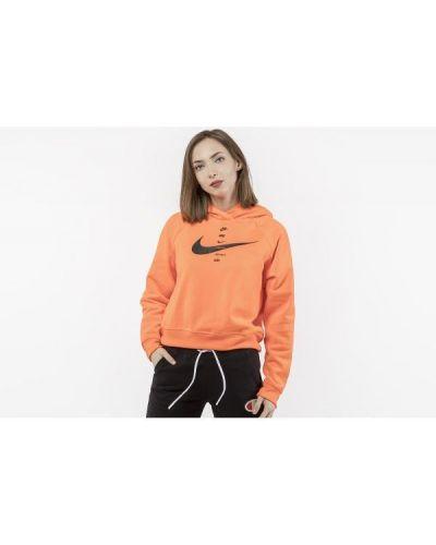 Pomarańczowa bluza z kapturem bawełniana Nike