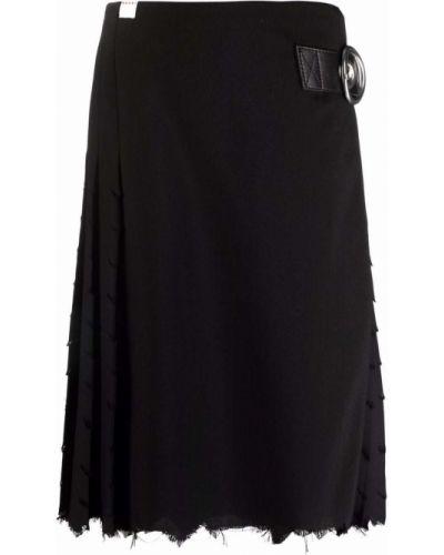 Шерстяная черная плиссированная юбка на шпильке Marni
