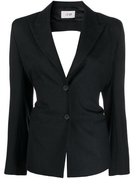 Черный приталенный пиджак с карманами с открытой спиной Kirin