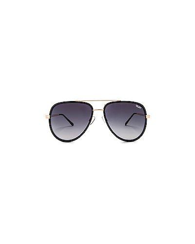 Солнцезащитные очки кожаные черные Quay