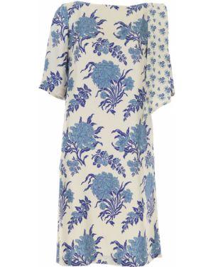 Niebieska sukienka wieczorowa asymetryczna krótki rękaw Antonio Marras