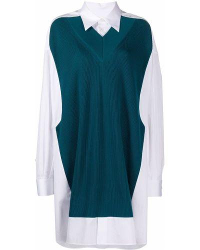 Зеленое вязаное платье макси с вырезом Maison Margiela
