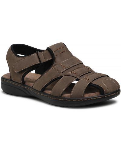 Brązowe sandały skorzane ocieplane Lanetti
