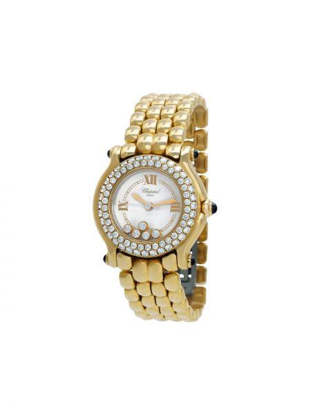 Спортивные белые кварцевые часы круглые с бриллиантом Chopard