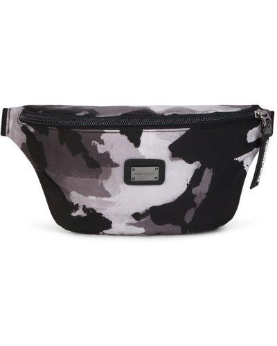 Кожаная черная поясная сумка на молнии Dolce & Gabbana Kids