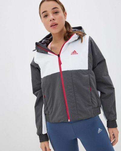 Серая утепленная куртка Adidas