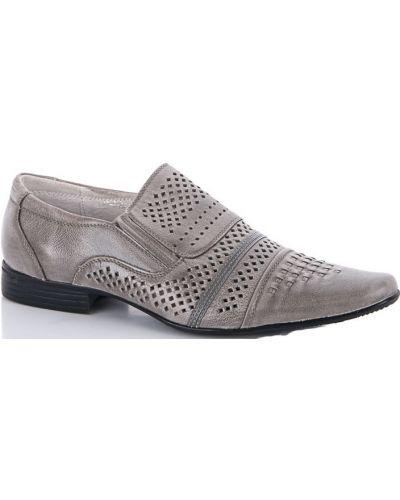 Кожаные туфли - серые Kangfu