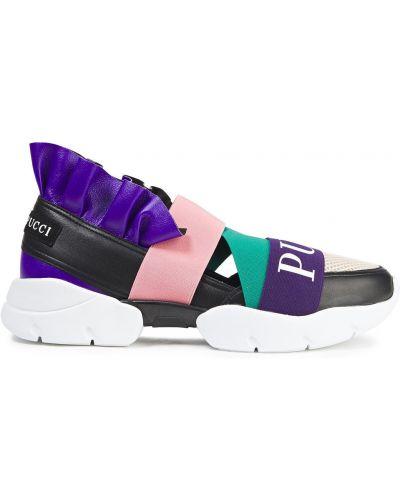 Zielone sneakersy skorzane miejskie Emilio Pucci