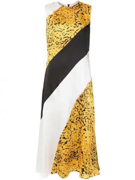 Шелковое платье со вставками без рукавов с вырезом Escada