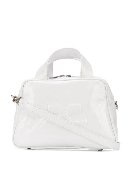 Biała torba na ramię skórzana z haftem Courreges