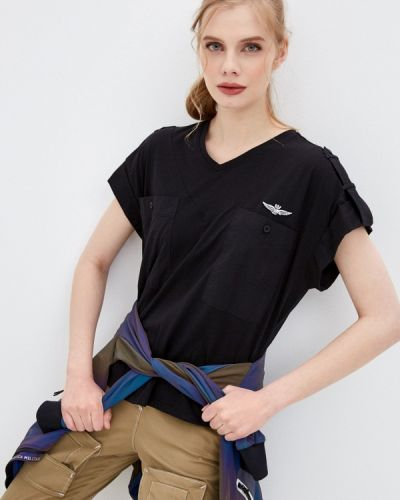 Черная футболка с короткими рукавами Aeronautica Militare