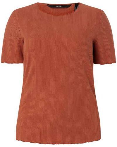 Prążkowany t-shirt bawełniany z falbanami Vero Moda Curve