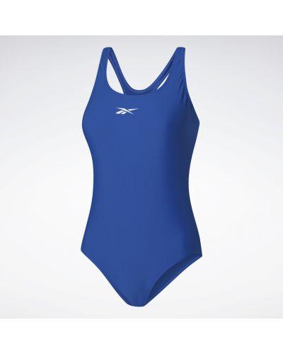 Синий слитный купальник для фитнеса Reebok