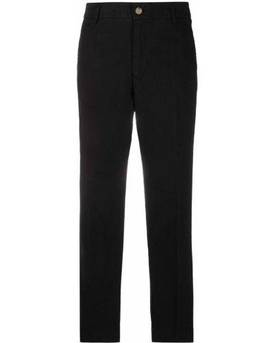 Хлопковые прямые черные укороченные брюки Forte Forte