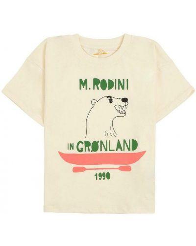 Beżowa t-shirt z printem Mini Rodini