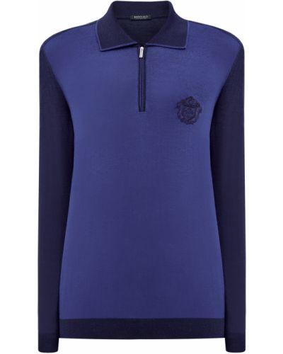 Шелковое синее поло на молнии Bertolo Cashmere