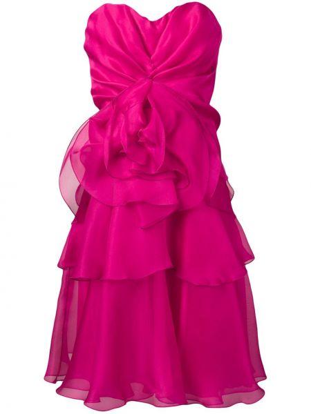 Шелковое розовое платье на молнии без бретелек Rhea Costa