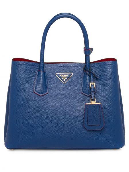 Синяя золотистая кожаная сумка на плечо Prada
