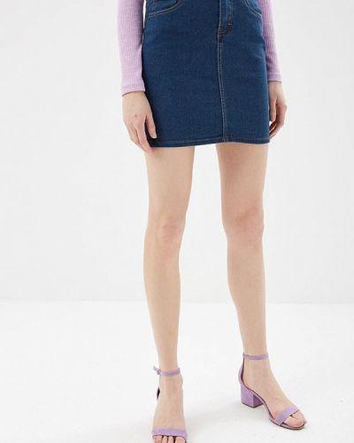 Юбка мини джинсовая синяя Modis