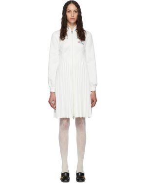 Платье макси с вышивкой плиссированное Gucci