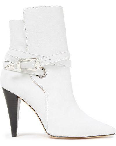 Białe ankle boots zamszowe klamry Iro