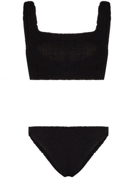 Czarny bikini z nylonu z niskim stanem Hunza G