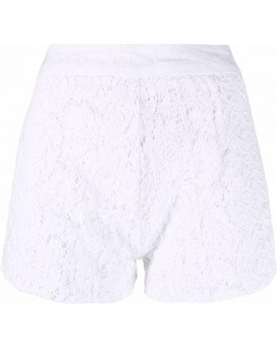 Хлопковые кружевные белые шорты 120% Lino