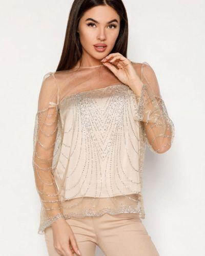 Блузка с длинным рукавом бежевый весенний Gepur