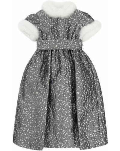 Платье макси серое с поясом Il Gufo