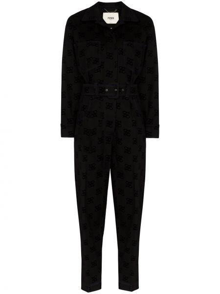 Хлопковый черный комбинезон с карманами Fendi