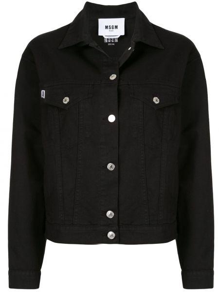 Джинсовая куртка черная с надписью Msgm