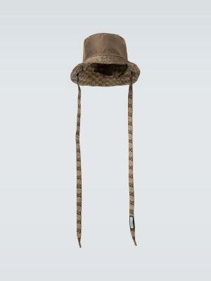 Z paskiem brązowy nylon kapelusz Gucci