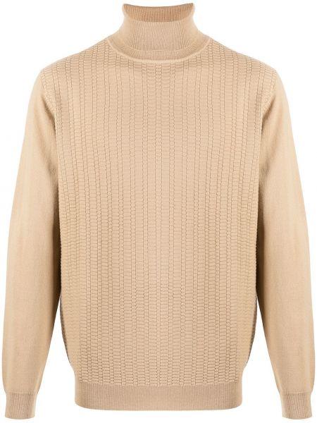 Trykotowy z rękawami brązowy wełniany długi sweter Karl Lagerfeld