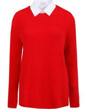 С рукавами шерстяной красный свитер с воротником Van Laack