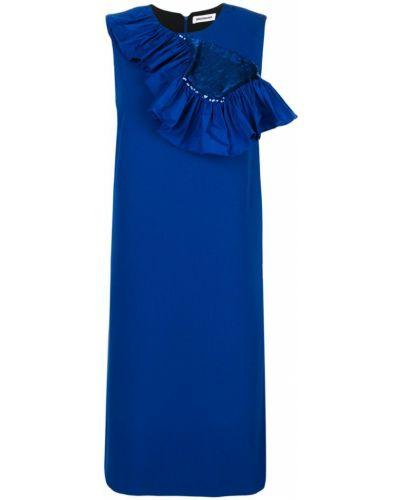 Платье с оборками синее Brognano