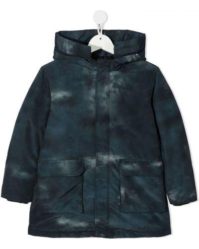 Синее пальто классическое с капюшоном с потайной застежкой Emporio Armani Kids