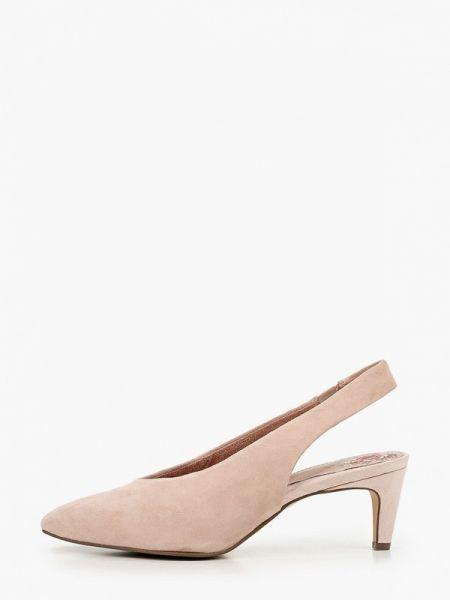 Розовые кожаные туфли с открытой пяткой из натуральной кожи Tamaris