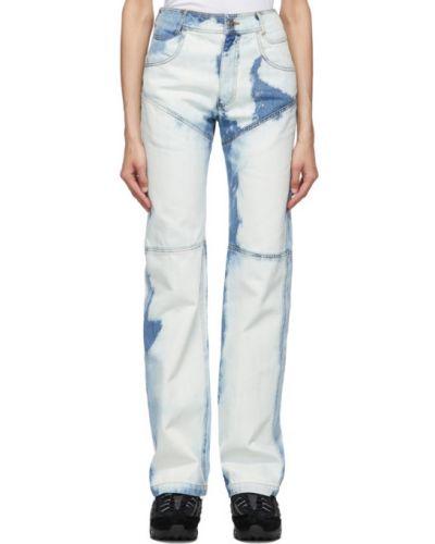 Прямые серебряные прямые джинсы стрейч Telfar
