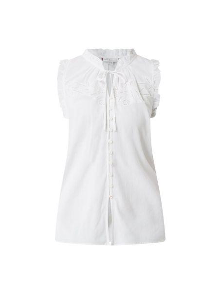 Bawełna biały bluzka z falbankami z wiskozy Tommy Hilfiger