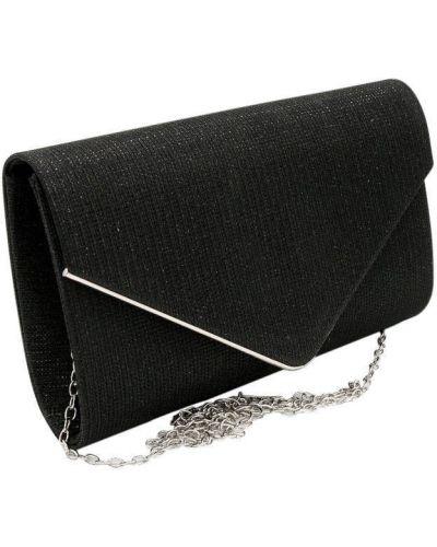 Czarna torebka na łańcuszku srebrna Lorenti