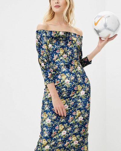 Синее платье с открытыми плечами Sartori Dodici